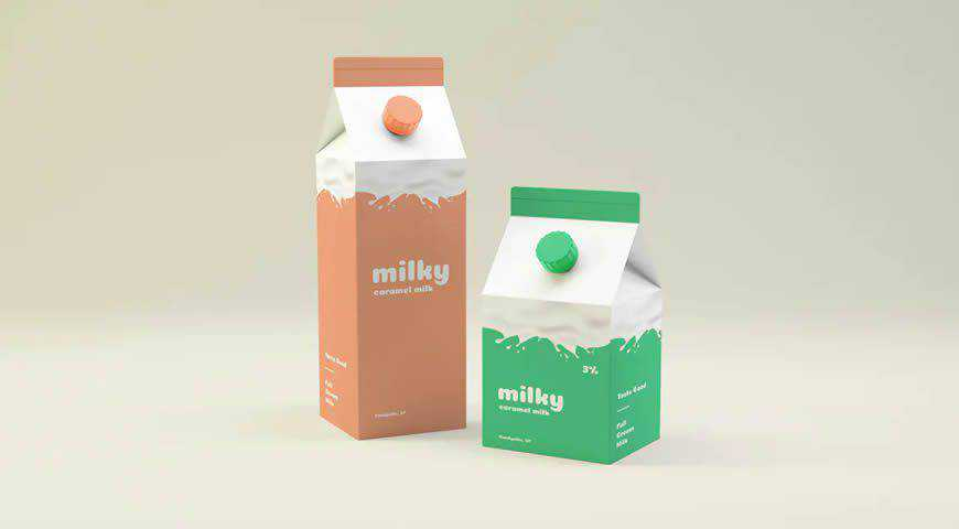 Milk Packaging Photoshop PSD Mockup Template