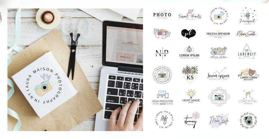 Illustrated Logo Templates photographer camera photography