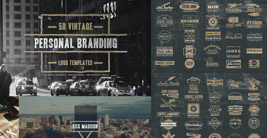 Vintage Personal Branding Logo Templates photographer camera photography