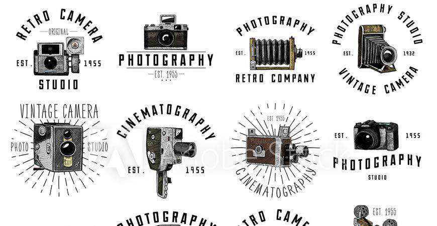 Illustrated Vintage Logo Templates photographer camera photography