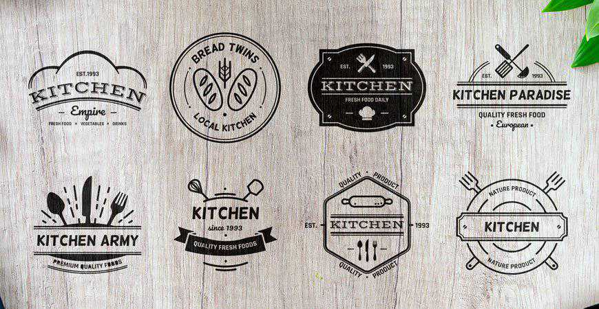 Kitchen Badge Logo Template Collection restaurant cooking food
