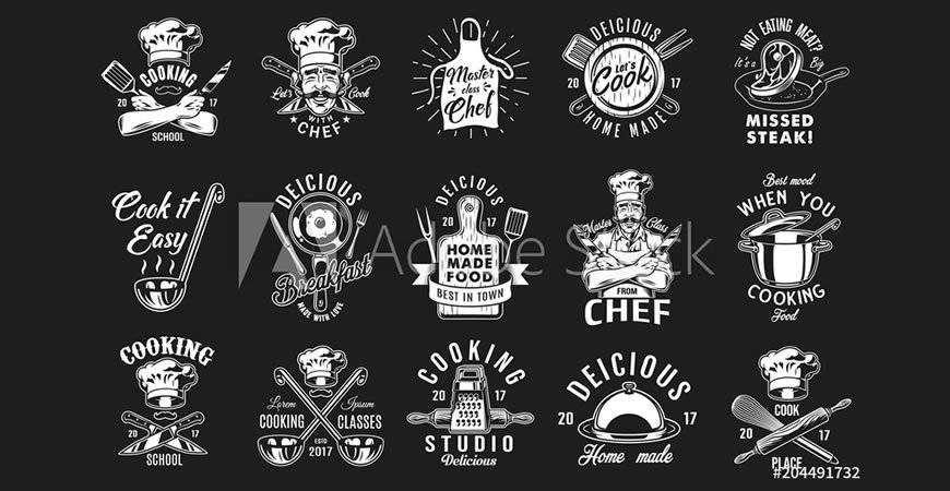 Cooking Badges Emblems Logo Templates restaurant cooking food