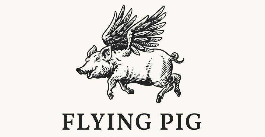 Flying Pig Handrawn Logo Template restaurant cooking food