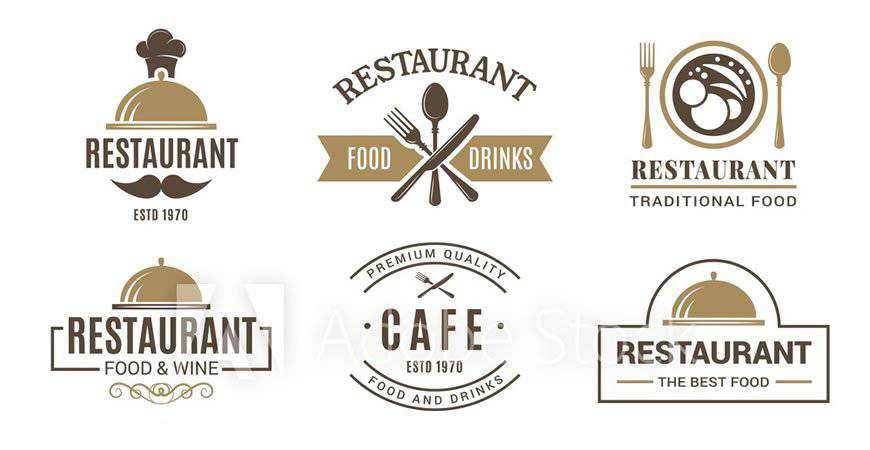 Vintage Cafe Logotype Symbols restaurant cooking food