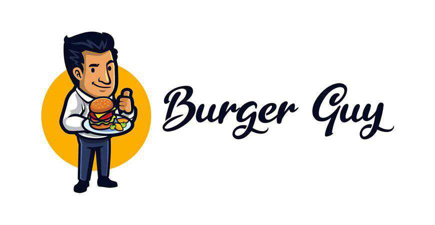 Cartoon Burger Guy Mascot Logo Template restaurant cooking food