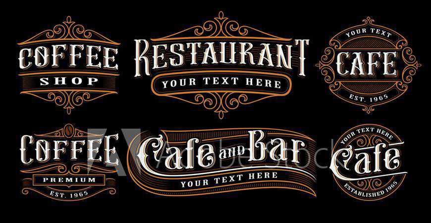 Vintage Catering Illustration Logo Templates restaurant cooking food