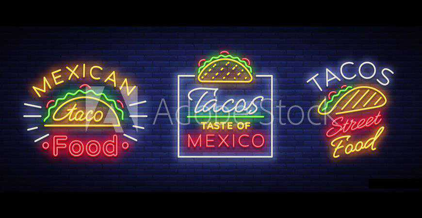 Neon-Style Taco & Mexican Food Logo Templates restaurant cooking food