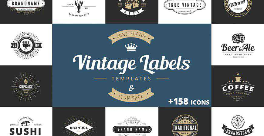 Vintage Labels Logo Template Constructor restaurant cooking food