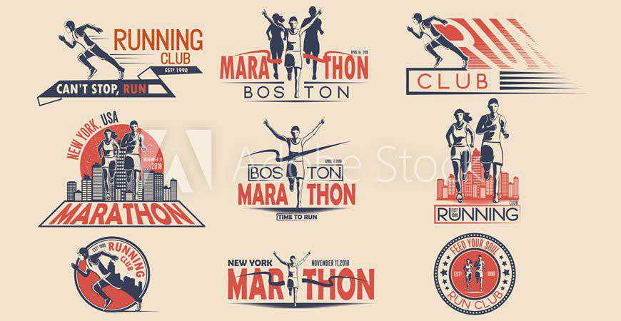 Running Marathon Logo Templates sport fitness work