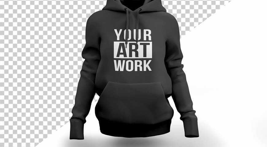 Black Hooded Sweatshirt Photoshop PSD Mockup Template