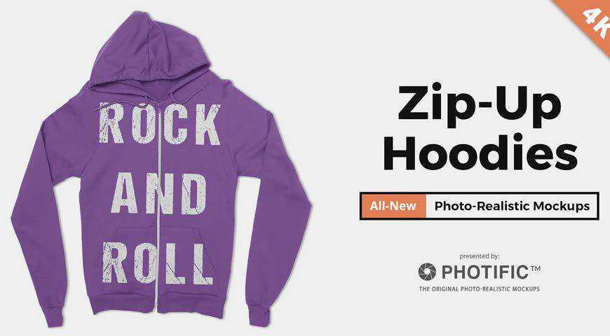 Zip-Up Hoodie Sweatshirt Photoshop PSD Mockup Template