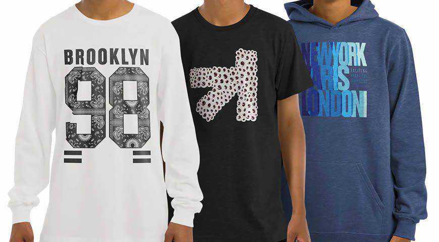 T-Shirt Longsleeve Sweatshirt Hoodie Photoshop PSD Mockup Template