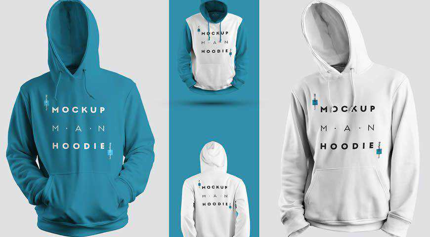 Hooded Sweatshirt Set with a Raised Hood Photoshop PSD Mockup Template