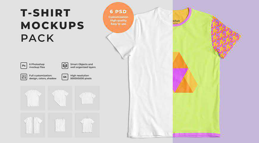 Customizable T-Shirt Photoshop PSD Mockup Template