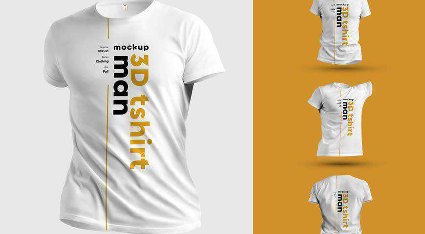 3D T-Shirt Photoshop PSD Mockup Template