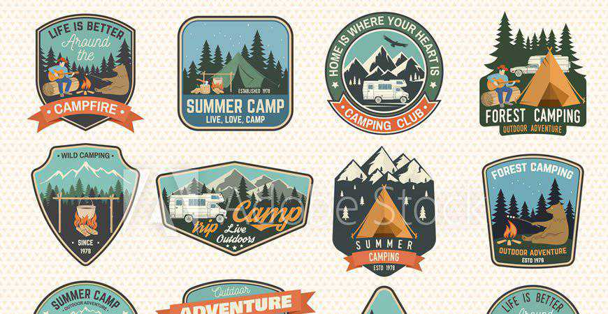 Summer Camp Badge Logo travel holidy vacation