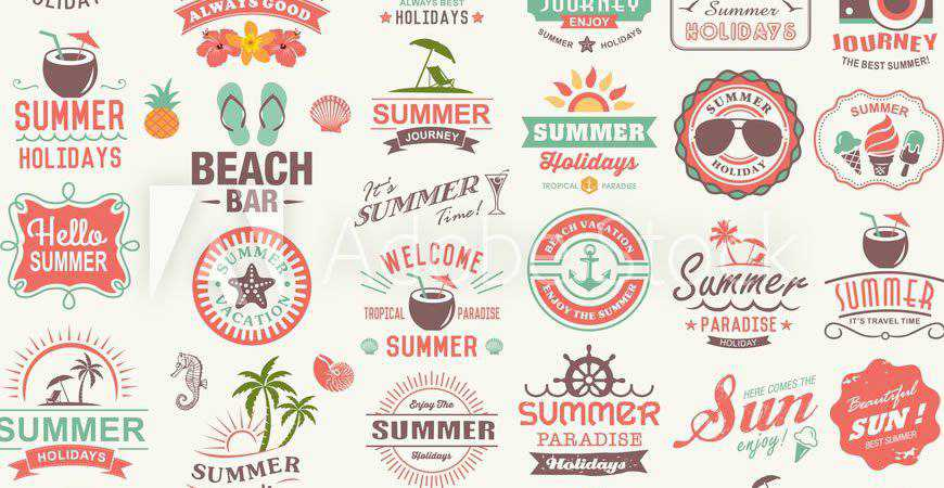 Vintage Summer Logo Templates travel holidy vacation