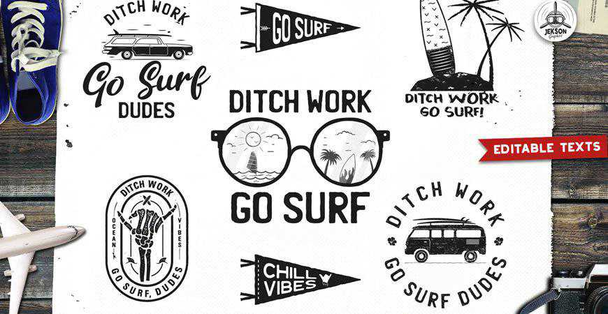 Retro Surfing Logo Designs travel holidy vacation