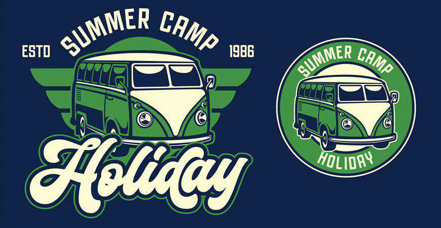 Retro Van Holiday Retro Logo Template travel holidy vacation
