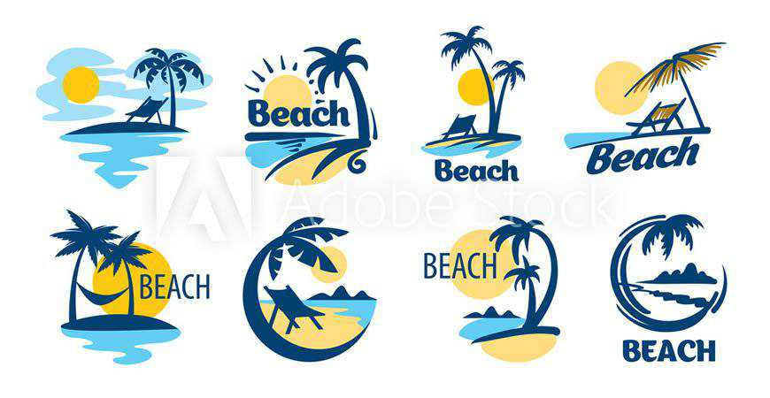 Set of Beach Logo Templates travel holidy vacation