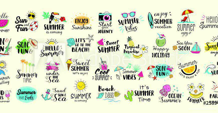Hand-Drawn Summer Labels Logos travel holidy vacation