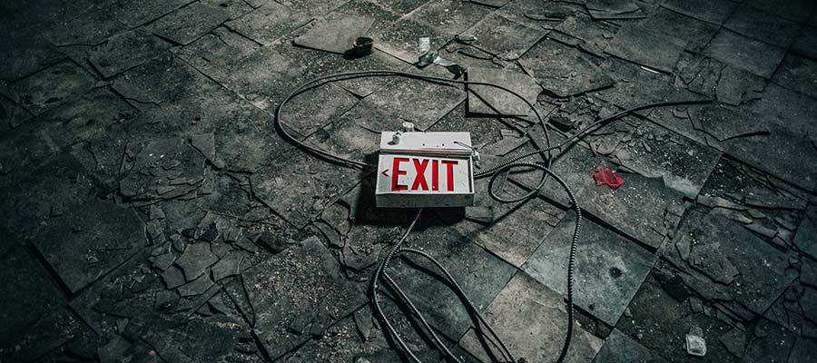 An EXIT sign.
