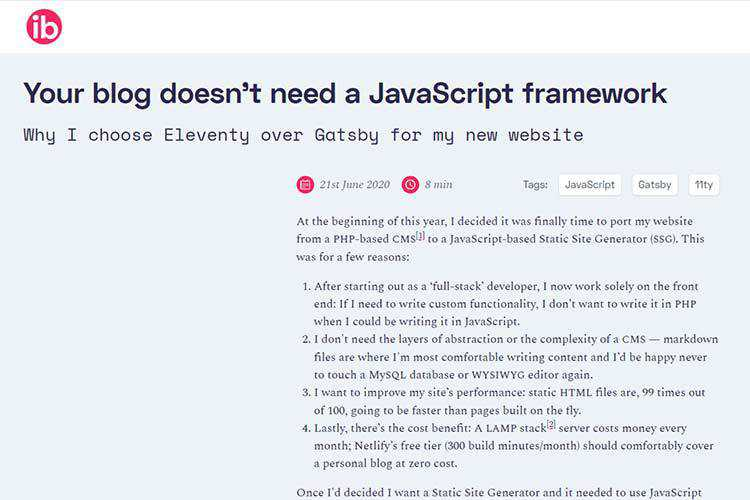 Example from Your blog doesn't need a JavaScript framework