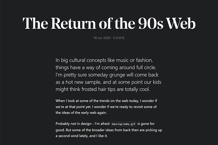 Example from The Return of the 90s Web