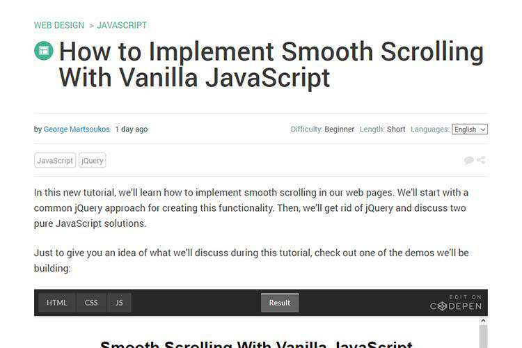 Example from How to Implement Smooth Scrolling With Vanilla JavaScript