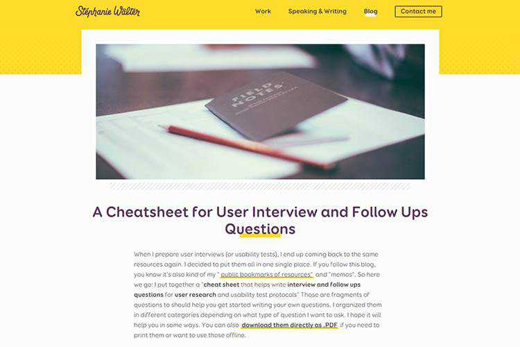 Example of A Cheatsheet for User Interview and Follow Ups Questions