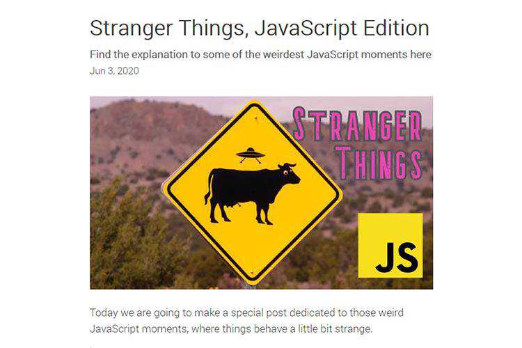 Example of Stranger Things, JavaScript Edition