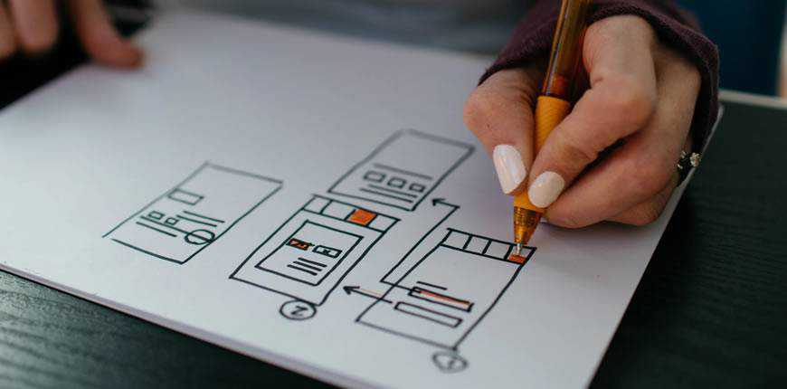 woman sketching web wireframe