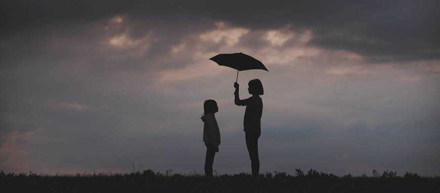 woman holding umbrella rain protecting client