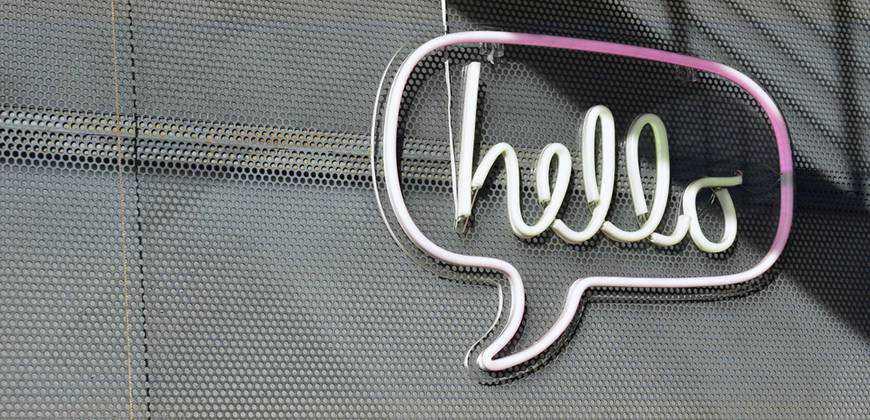 Neon speech bubble communication chat