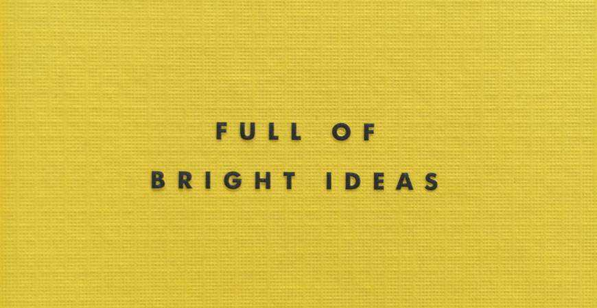 full of bright ideas yellow fabric background