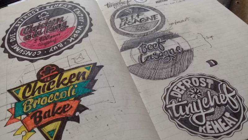 logo food sketch sketchbook design