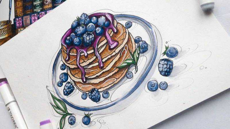 blueberry cake baking sketch sketchbook design