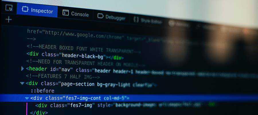 A web browser code inspector.