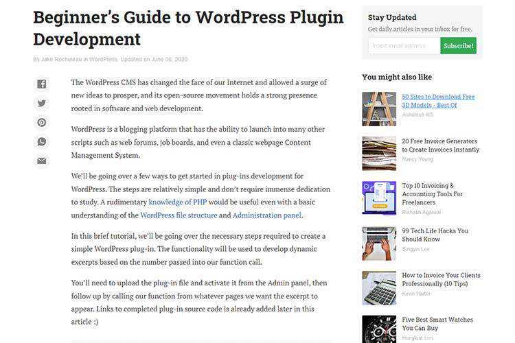 Example of Beginner's Guide to WordPress Plugin Development