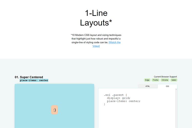 Example of 1-Line Layouts