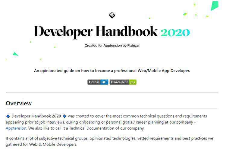 Example from Developer Handbook 2020