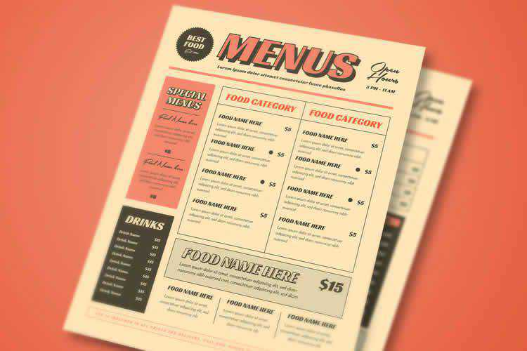 Example from 15 Free Restaurant & Coffee Shop Menu Templates
