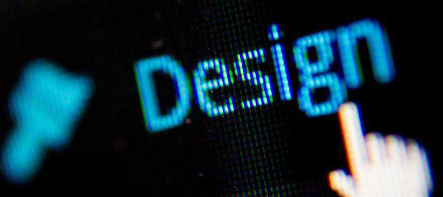 "The word ""Design"" displayed on a screen."