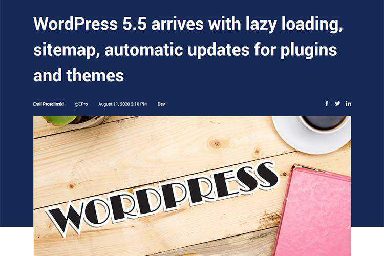 Example from WordPress 5.5 arrives with lazy loading, sitemap, automatic updates for plugins and themes