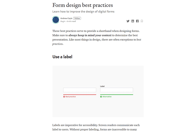 Example from Form design best practices