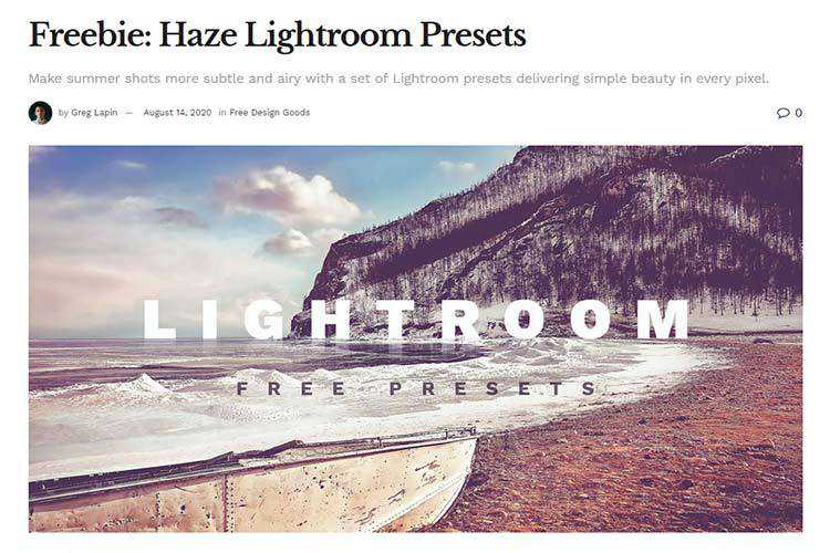 Example from Freebie: Haze Lightroom Presets
