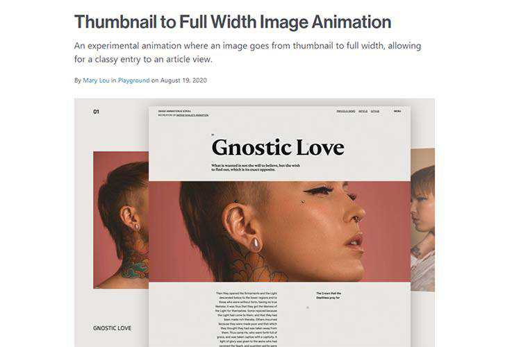 Example from Thumbnail to Full Width Image Animation