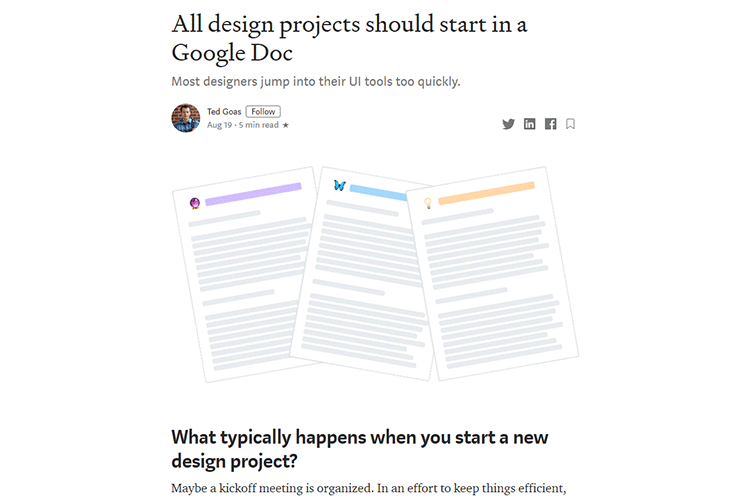 Example from All design projects should start in a Google Doc