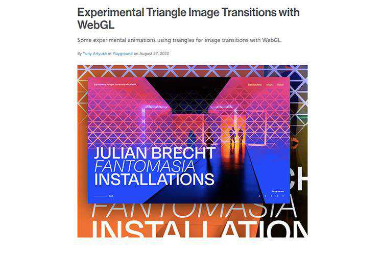 Example from Experimental Triangle Image Transitions with WebGL