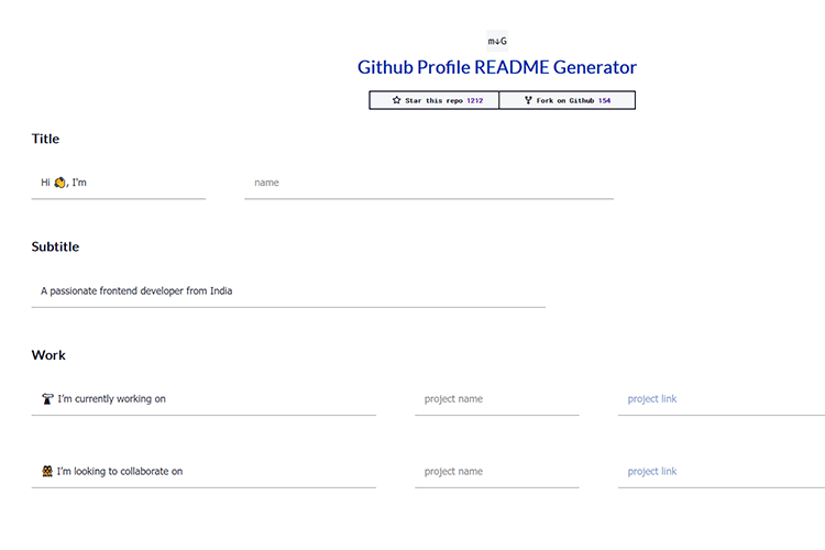 Example from Github Profile README Generator